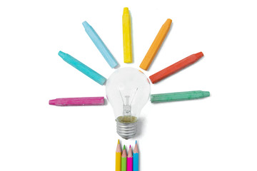 Lamp and multicolored crayon