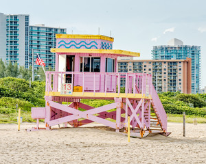 Pink Lifeguard Tower #13 on Haulover Beach, Miami, Florida