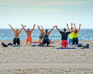 Sunset Yoga on Miami Beach, Florida