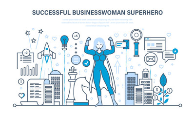 Businesswoman is superhero, in business clothes on background of city.