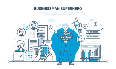Businessman is superhero, in business clothes on background of city.