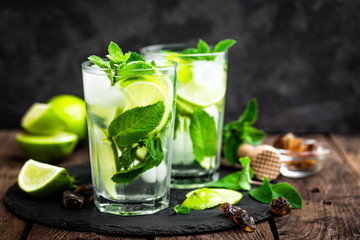Wall Murals Cocktail Refreshing mint cocktail mojito with rum and lime, cold drink or beverage with ice on black background