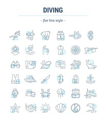 Vector graphic set.Isolated Icons in flat, contour, thin, minimal and linear desine.Diving.Extreme swimming sports infographic.Diving equipment.Concept illustration for Web site.Sign,symbol, element.