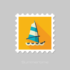Board Windsurfing stamp. Summer. Vacation