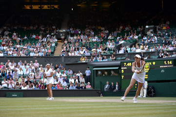 Women's Doubles - Switzerland's Martina Hingis and Sania Mirza of India during the final