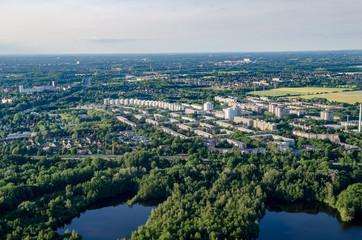 Panorama flight over the east of Hamburg Germany