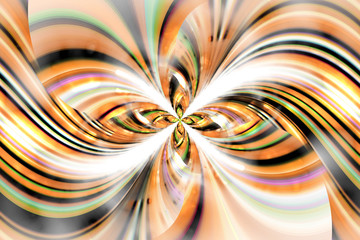 Exotic flower with textured petals on white background. Abstract asymmetrical floral design in orange, yellow, black and green colors. Fantasy fractal art. 3D rendering.