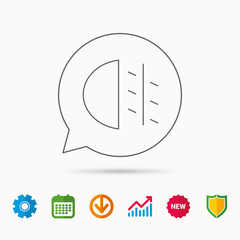 Fog lights icon. Car beam sign. Calendar, Graph chart and Cogwheel signs. Download and Shield web icons. Vector