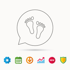 Baby footprints icon. Child feet sign. Newborn steps symbol. Calendar, Graph chart and Cogwheel signs. Download and Shield web icons. Vector