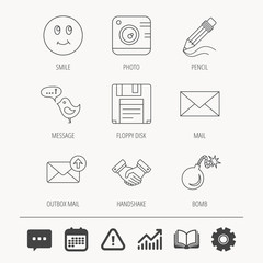 Photo camera, pencil and handshake icons. Inbox e-mail, message speech bubble and smile linear signs. Education book, Graph chart and Chat signs. Attention, Calendar and Cogwheel web icons. Vector