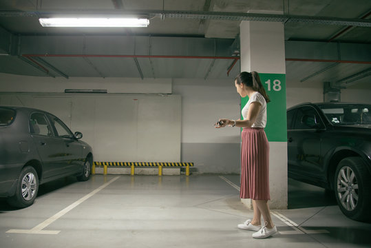woman's car was stolen, can't find car at underground parking