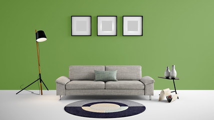 High resolution green empty wall and photo frames for advertisement, wall papers, wall decals, wall art, paintings, etc