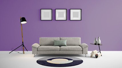 High resolution purple empty wall and painting frames for advertisement, wall papers, wall decals, wall art, paintings, etc
