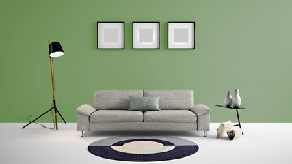 High resolution green empty wall and painting frames for advertisement, wall papers, wall decals, wall art, paintings, etc