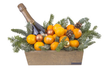 New year bouquet of champagne and tangerines