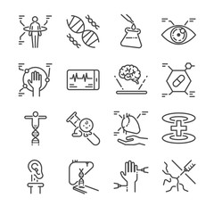 Medical innovation line icon set. Included the icons as physical scan, digital eye, dna, pseudo heart, organ printing and more.