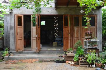 garden in retro Asian home