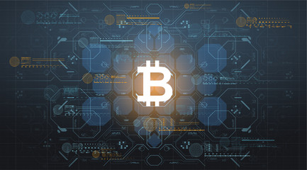 Background with bitcoin in futuristic virtual space. Design concept with HUD user interface elements.