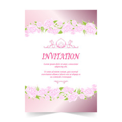 Invitation card, wedding card with rose