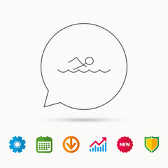 Swimming icon. Swimmer in waves sign. Professional sport symbol. Calendar, Graph chart and Cogwheel signs. Download and Shield web icons. Vector