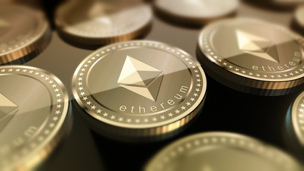 Shiny Ethereum coins crypto-currency background