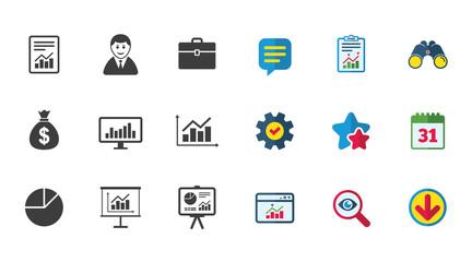 Statistics, accounting icons. Charts signs.