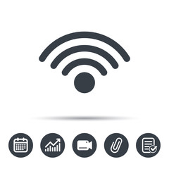 Wifi icon. Wireless internet sign. Communication technology symbol. Calendar, chart and checklist signs. Video camera and attach clip web icons. Vector
