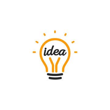 Stylized sign of vector lightbulbs, white and orange color logotype. New idea symbol, flat bright cartoon bulb. Idea icon, circle logo.