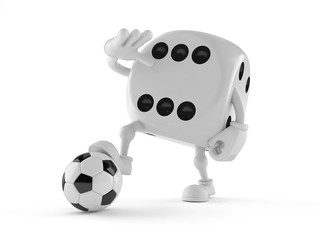 Dice character with soccer ball