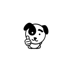 Cute puppy showing like, thumb of hand up, high esteem and approval vector logo. Well done illustration, good job post, excellent symbol