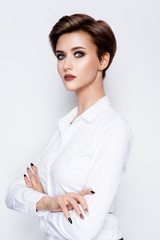 Portrait of beautiful girl with beautiful make up and short hair