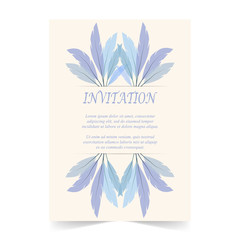 Invitation card, wedding card with feather on ivory background