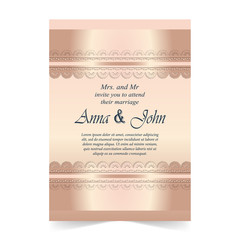 Wedding card, Invitation card with ornamental on rose quartz color background