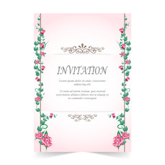 Invitation card, wedding card with rose, pink background