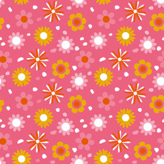 Childish floral pattern, vector. Seamless texture with cute flowers. Use for greeting cards, textile patterns, packaging design, wrapping paper, wallpaper and more