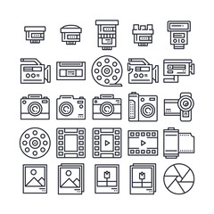 Set of Camera and Video Outline Icon design . All Icon designed on 64x64 Pixel perfect Icon. Good to use for website project , app , mobile and more. Editable Stroke.