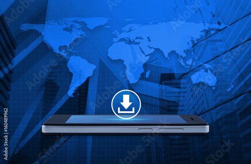 Download icon on modern smart phone screen over world map and office download icon on modern smart phone screen over world map and office city tower business gumiabroncs Images