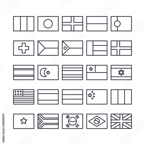 Set of Flag Outline Icon design   All Icon designed on 64x64