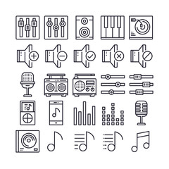 Set of Music and Sound Outline Icon design . All Icon designed on 64x64 Pixel perfect Icon. Good to use for website project , app , mobile and more. Editable Stroke.