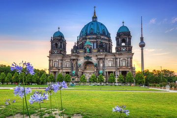 Berlin Cathedral (Berliner Dom) and TV Tower at sunrise, Germany