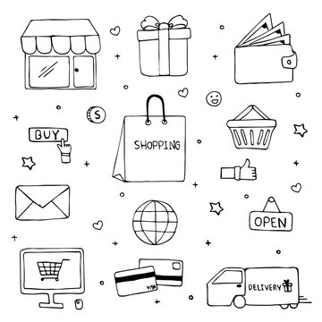 Hand drawn of shopping doodle art vector design. Ecommerce shopping concept.