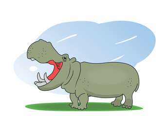 Illustration of a hippopotamus on a green field.