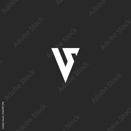 monogram v letter logo simply style typography design element for wedding card mockup business