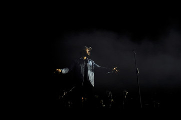 The Weeknd performs during the Firefly Music Festival in Dover, Delaware
