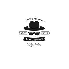 I love my dad. Happy Father's Day Design. Black color vintage style Father logo on light grunge background. Vector illustration