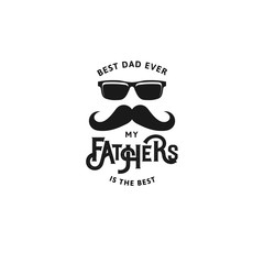 Happy Father s Day Design Collection. Set of black color vintage style Father logo on light grunge background. Vector illustration.