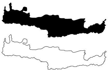 Crete map vector illustration, scribble sketch island of Crete