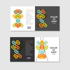 Two business brochure design layout template, with hexagon pattern