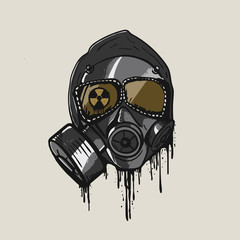 Gas mask in graffiti style vector.