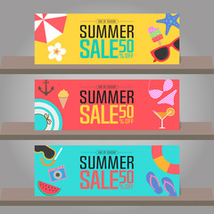 Summer sale background for template design. Vector illustration.